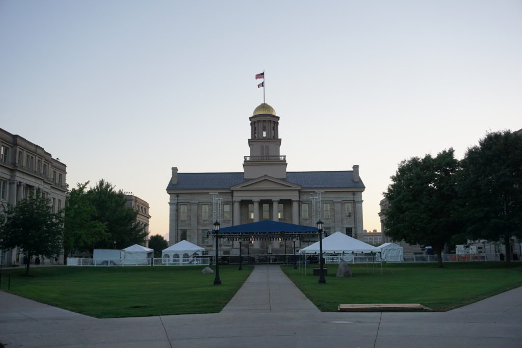 Old Capitol Museum with tents ready for Jazz Festival 2016