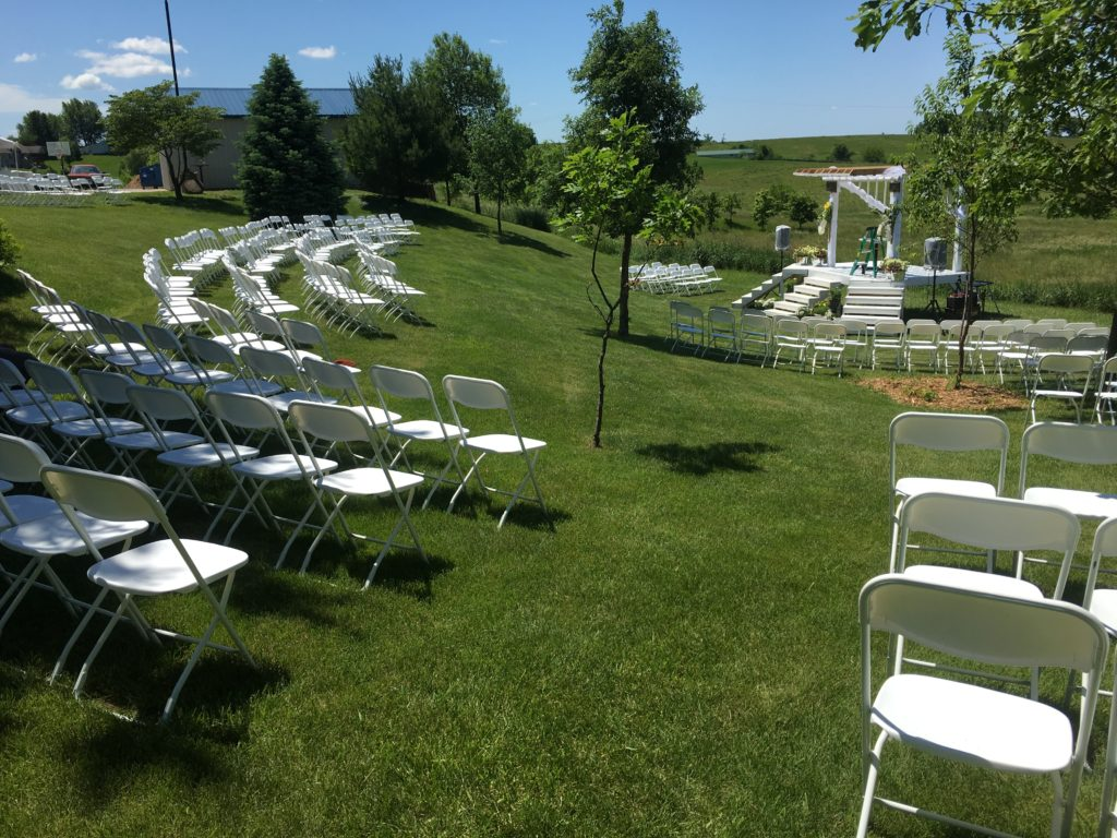 Outdoor wedding at HighPoint City Church with chairs in half-circle