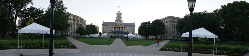 Panoramic of Old Capitol Museum with tents