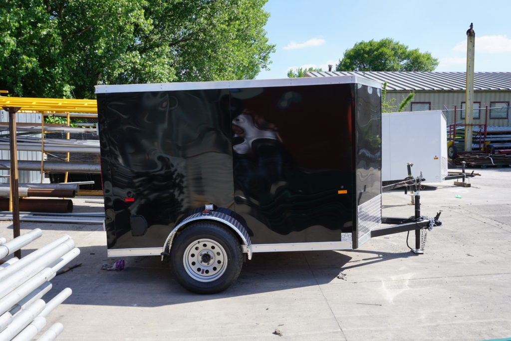 Right side of 5' x 8' black single axle enclosed trailer [3055]