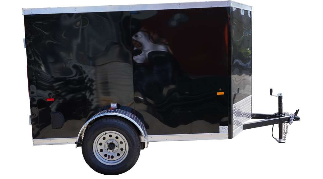 Right side of 5' x 8' black single axle enclosed trailer [3055] header image