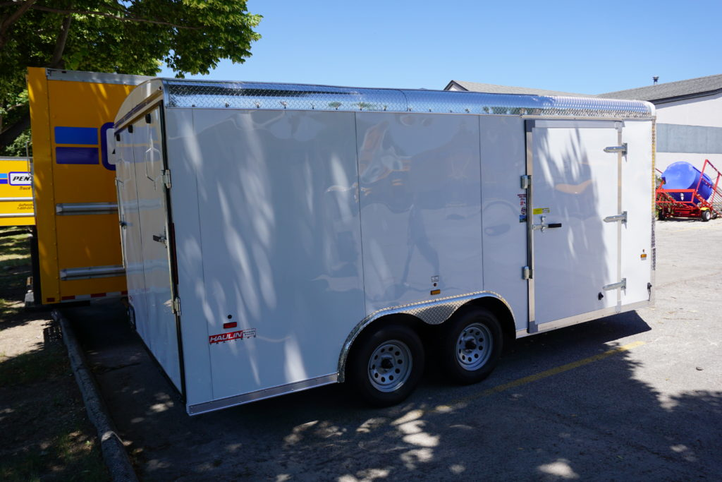 Right side of 8½x16 white tandem enclosed trailer for rent or sale [sn2488] closer to back