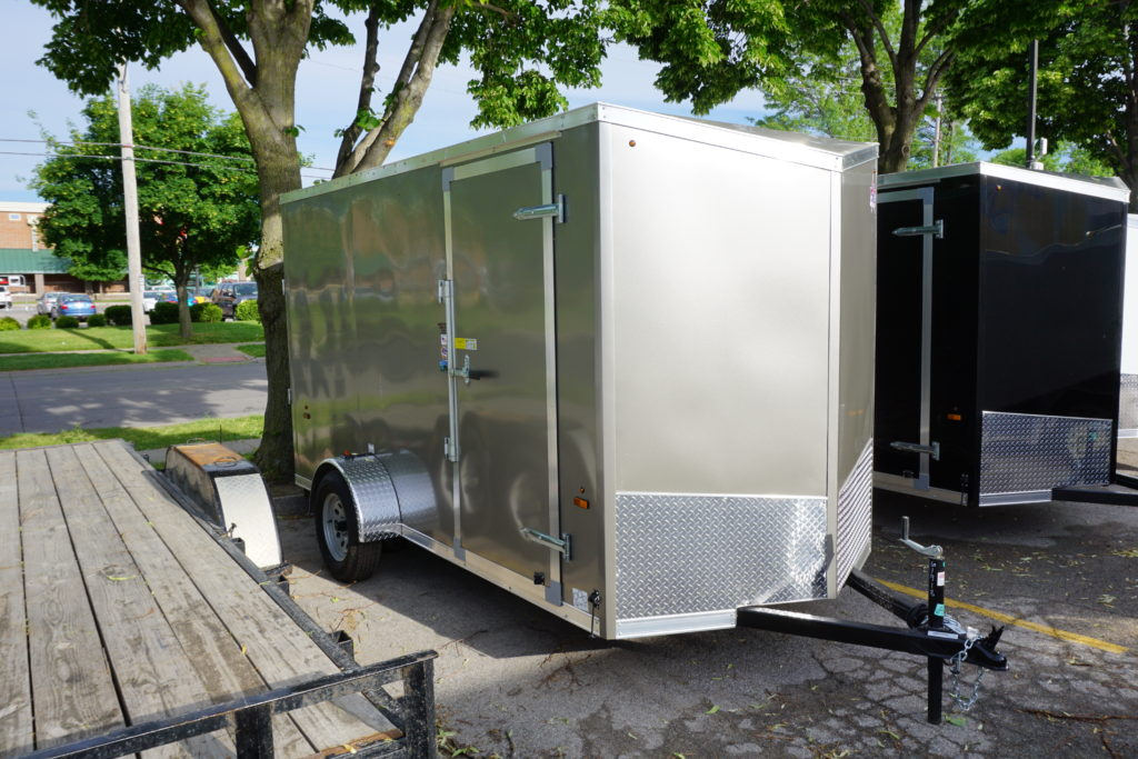 Right side of pewter 6'x12' enclosed cargo trailer