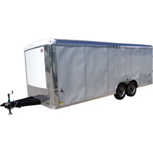 Side of 8.5' x 20' white tandem enclosed trailer [sn2927]