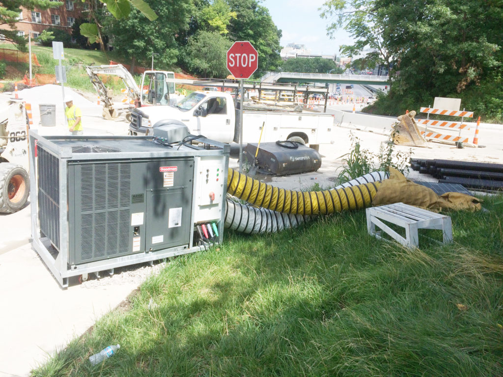 5 ton A/C unit delivers relief for workers working in the steam tunnels in Iowa City, IA