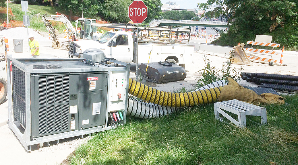 5 ton A/C unit delivers relief for workers working in the steam tunnels in Iowa City