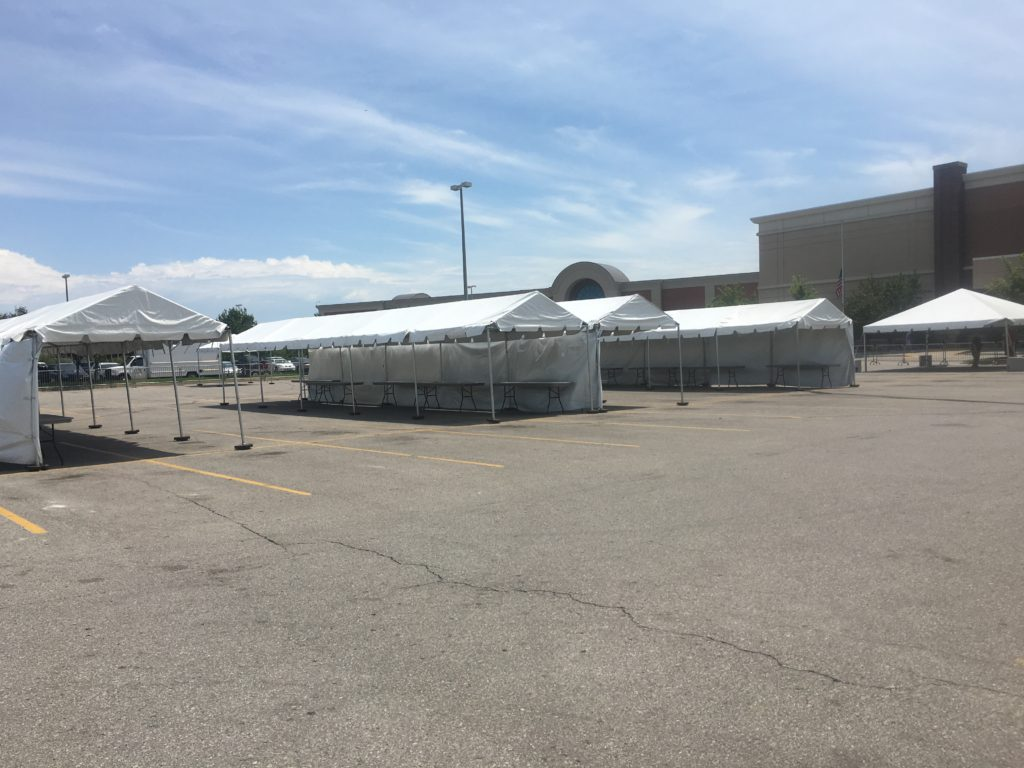 Frame tents setup at Scheels in Des Moines, Iowa