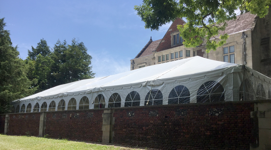 Large 30' x90' frame wedding tent in Des Moines, Iowa