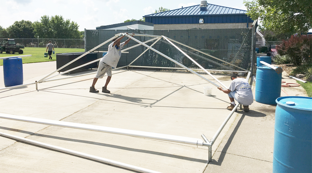 Putting the frame portion of a frame tent together