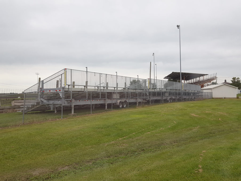 Back of towable bleachers at Benton County Speedway in Vinton, IA