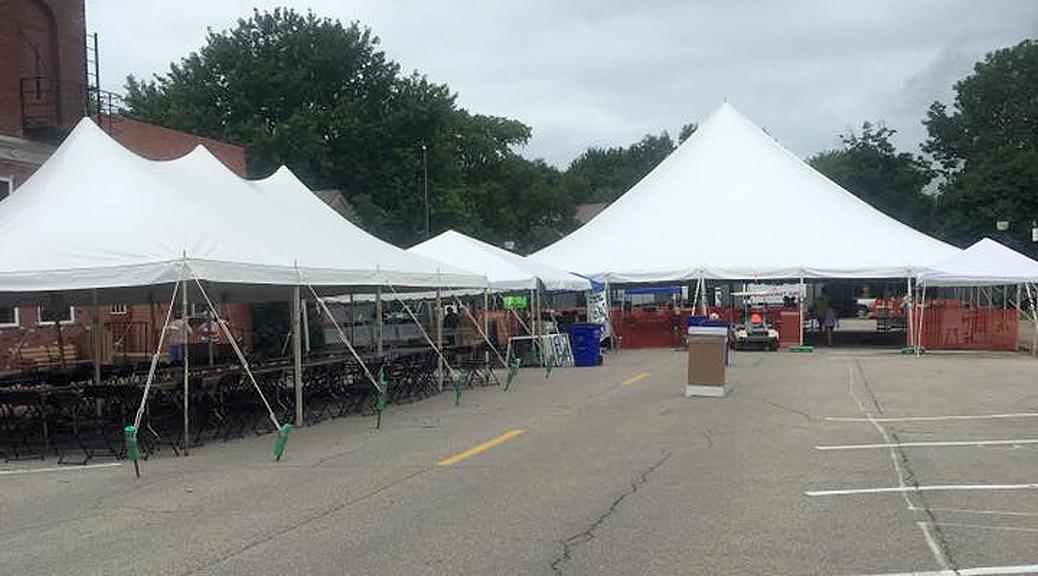 Festival tents for Lisbon Sauerkraut Days in Iowa