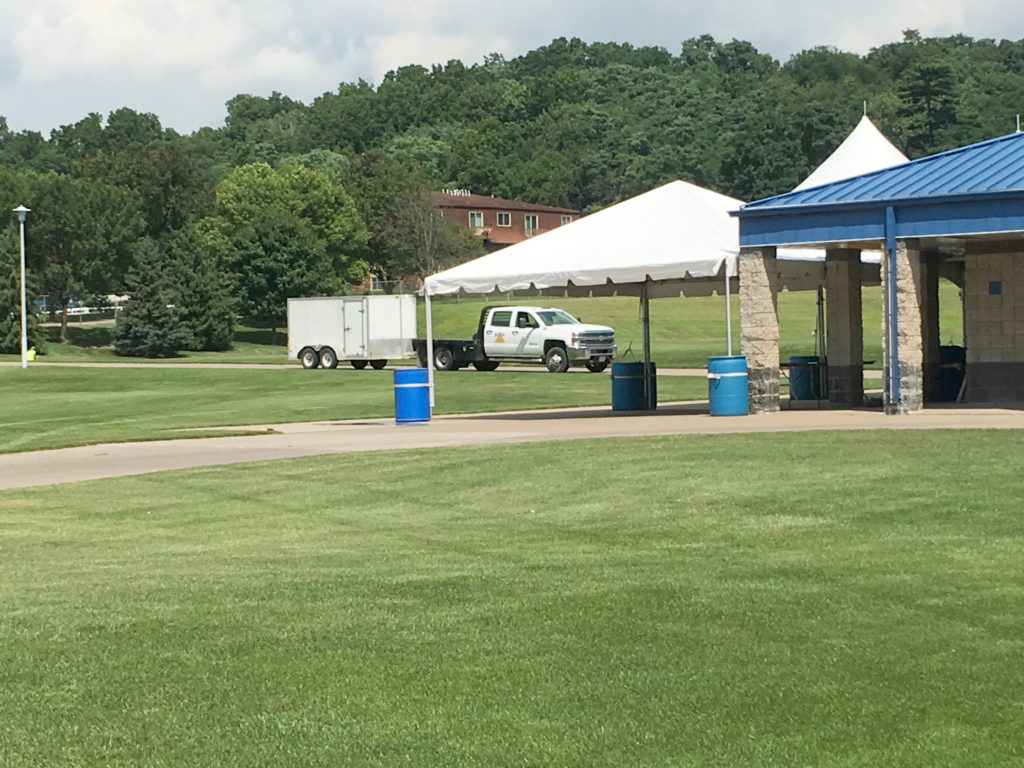 Frame tent setup at the Muscatine Soccer Complex