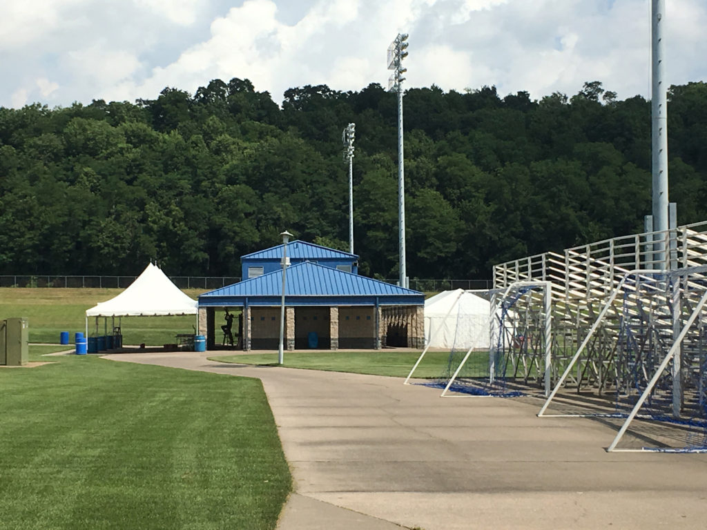 Frame tents setup at Muscatine Soccer Complex