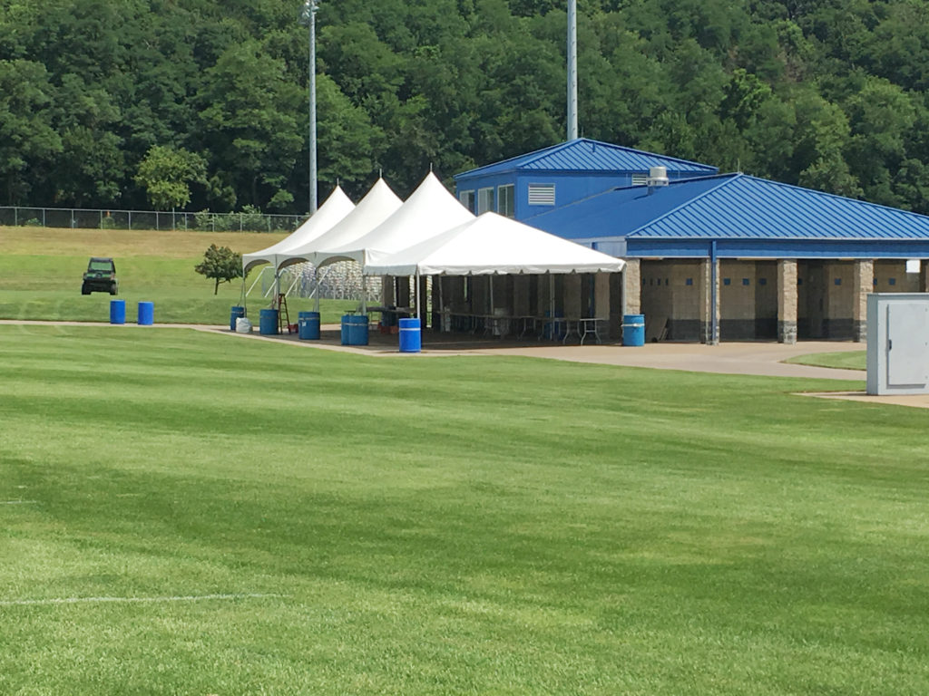 Frame tents setup at the Muscatine Soccer Complex