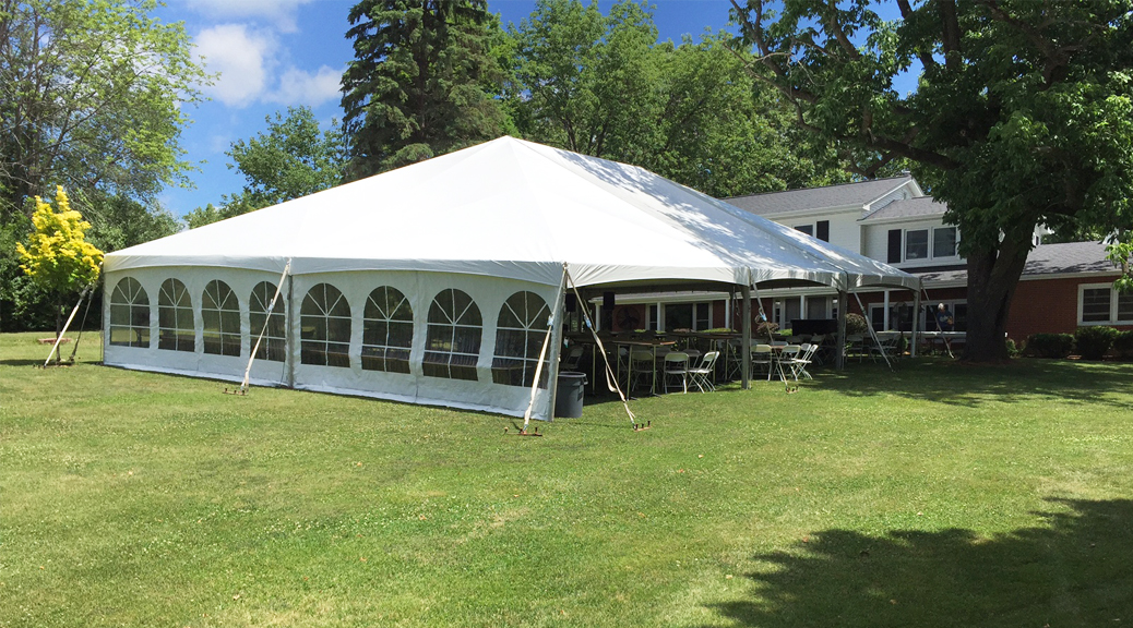 Outdoor Wedding Reception Set Up With 40 X 60 Hybrid Tent