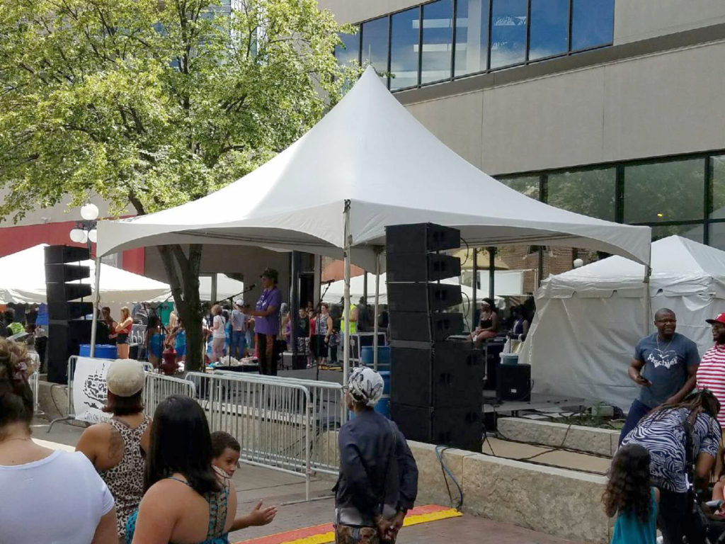 Stage at 2016 Soul Fest in the pedestrian mall in Iowa City, IA