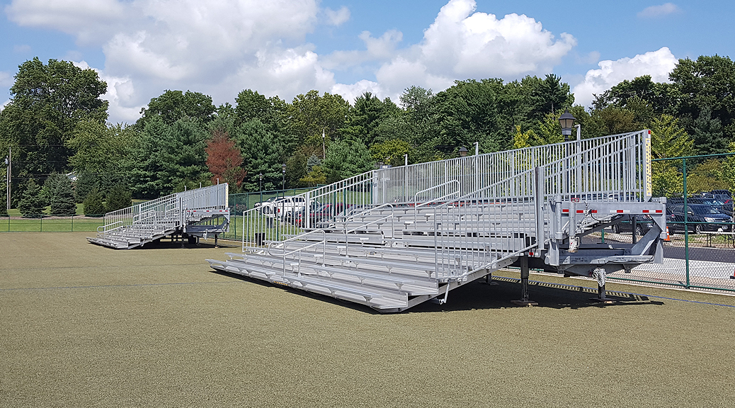 Towable bleachers delivered and set at MICDS in Saint Louis, MO Private Elementary, Middle and High School