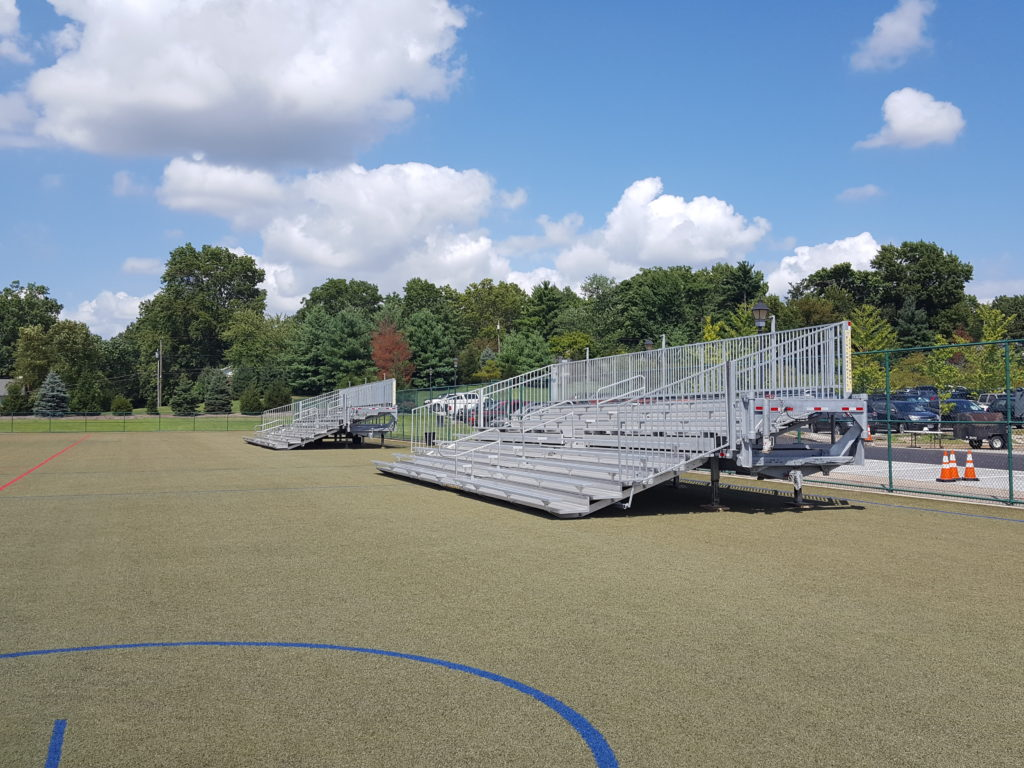 Towable bleachers delivered & setup at Private School in Saint Louis, MO
