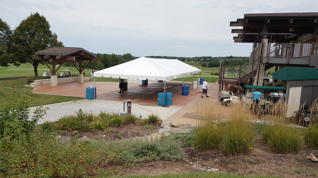 Setup of 20′ x 60′ frame tent at Brown Deer Golf Club in Coralville, IA
