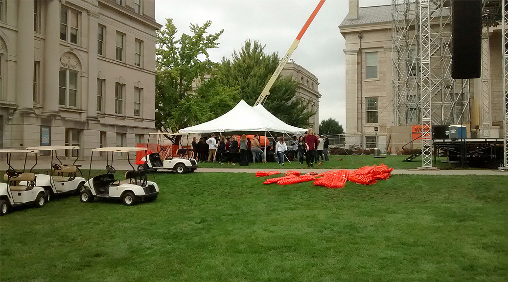 20' x 30' rope and pole tent at Old Capitol Museum