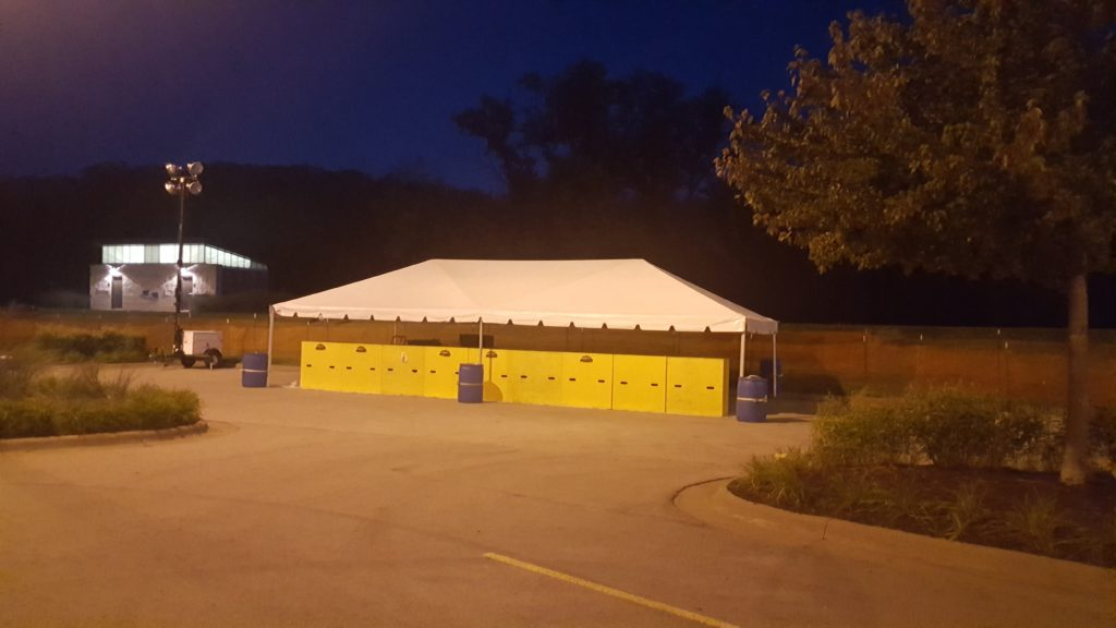20' x 40' frame tent setup for FRYfest at Iowa River Landing