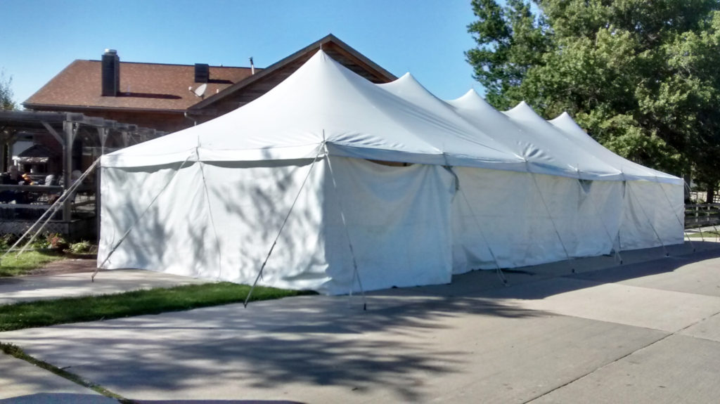 20' x 60' rope and pole tent with sidewall at Millstream Brewing Company in Amana, IA
