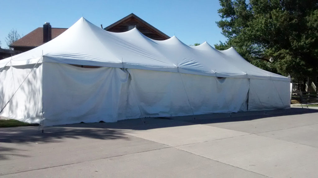 20' x 60' rope and pole tent with sidewall at Millstream Brewing Company in Amana, IA cut off