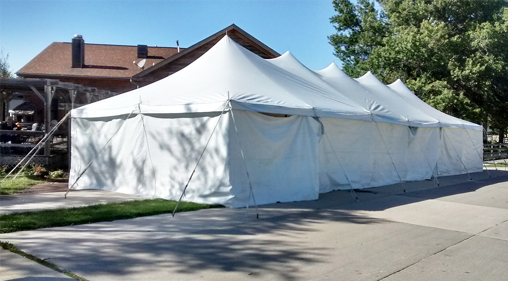 20' x 60' rope and pole tent with sidewall at Millstream Brewing in Amana, IA