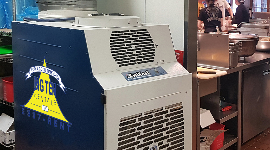 5 ton temporary AC unit to cool a Chipotle Mexican Grill restaurant in Iowa
