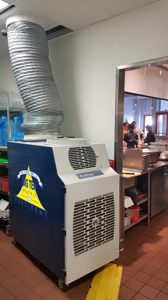5 ton temporary A/C unit to cool a Chipotle Mexican Grill restaurant kitchen at the Old Capitol Mall