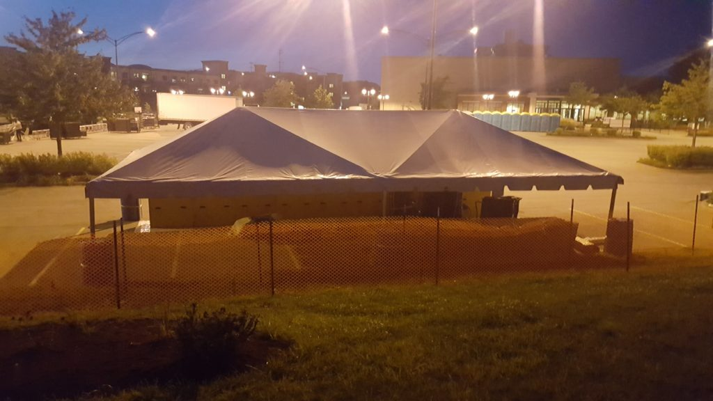 Back of 20' x 40' frame tent at FRYfest