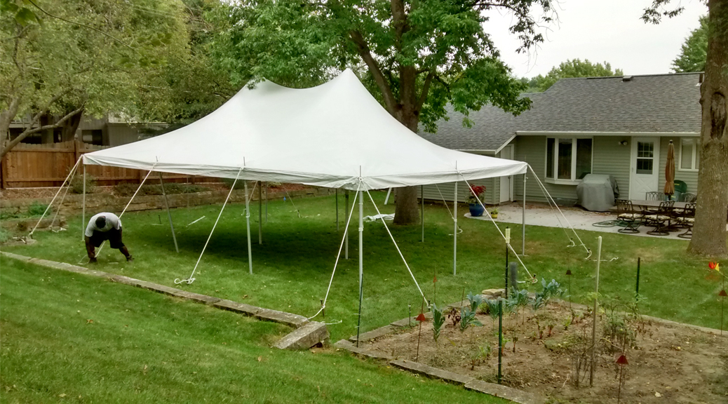 Backyard Party With 20 X 30 Rope And Pole Tent