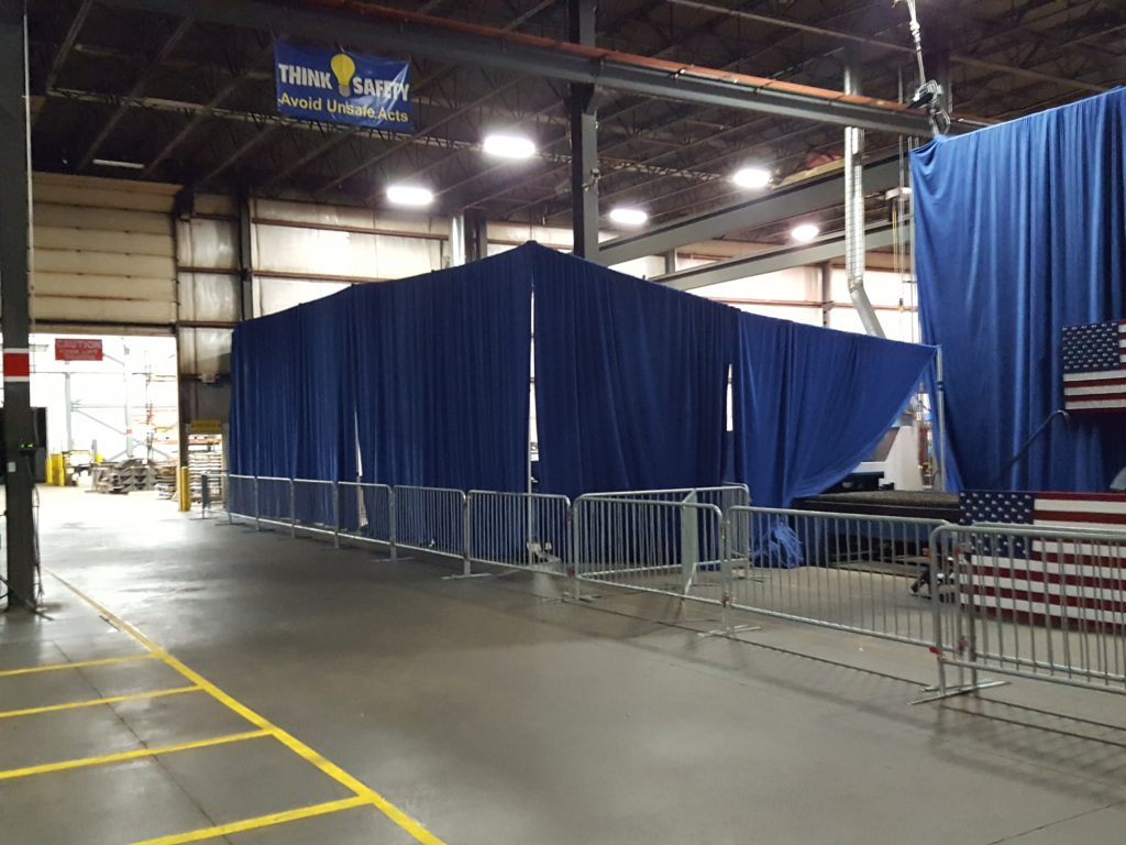 Barricade for political event at Giese Manufacturing being setup
