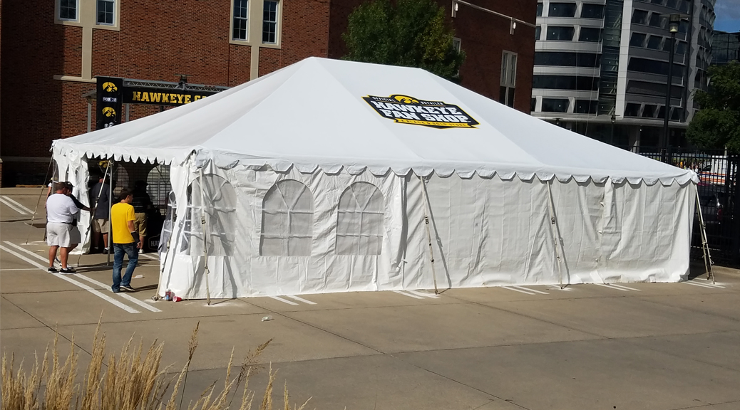 Big Ten Rentals sold new branded tent to Hawkeye Fan Shop: A Black & Gold Store