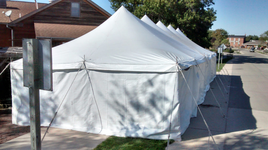 End of 20' x 60' rope and pole tent with sidewall at Millstream Brewing Company in Amana, IA