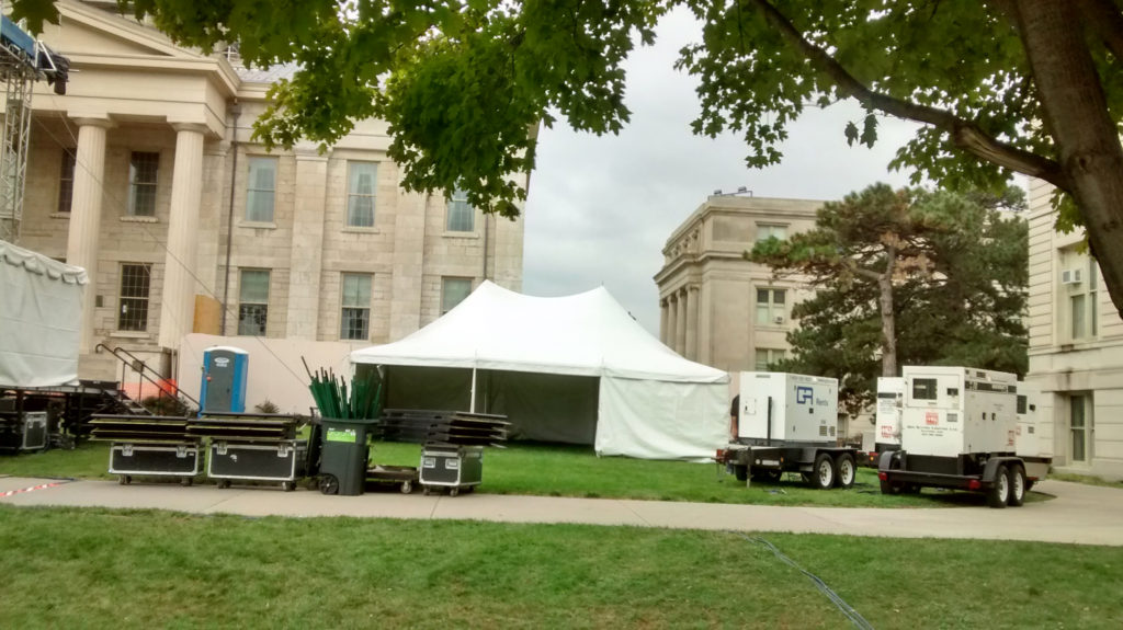 Second 20' x 30' rope and pole tent with sidewall for SCOPE Productions: University of Iowa
