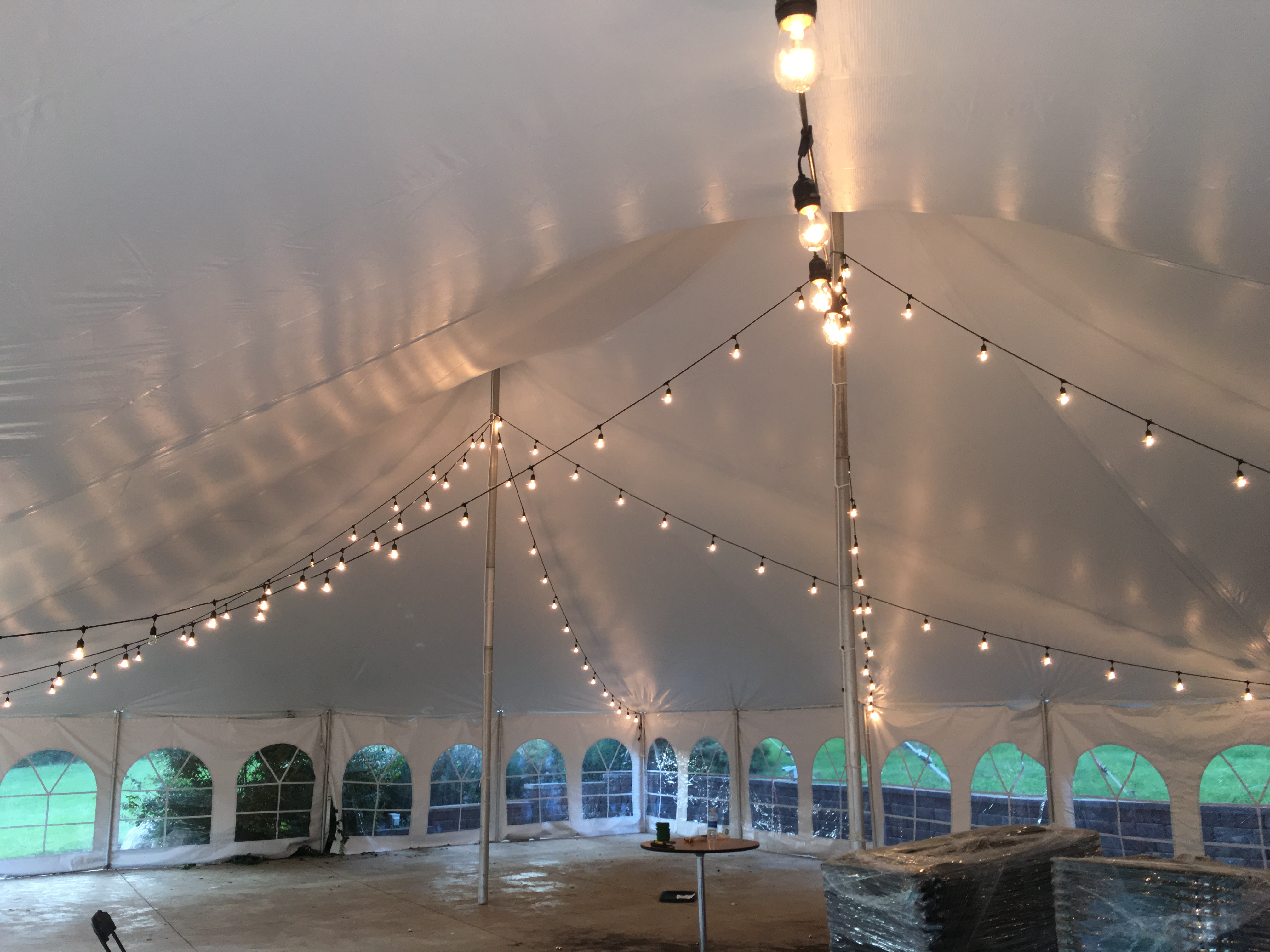 Under 40u2032 x 60u2032 white rope and pole wedding tent at Harvest Preserve with Edison cafe string lights & Under 40u0027 x 60u0027 white rope and pole wedding tent at Harvest ...