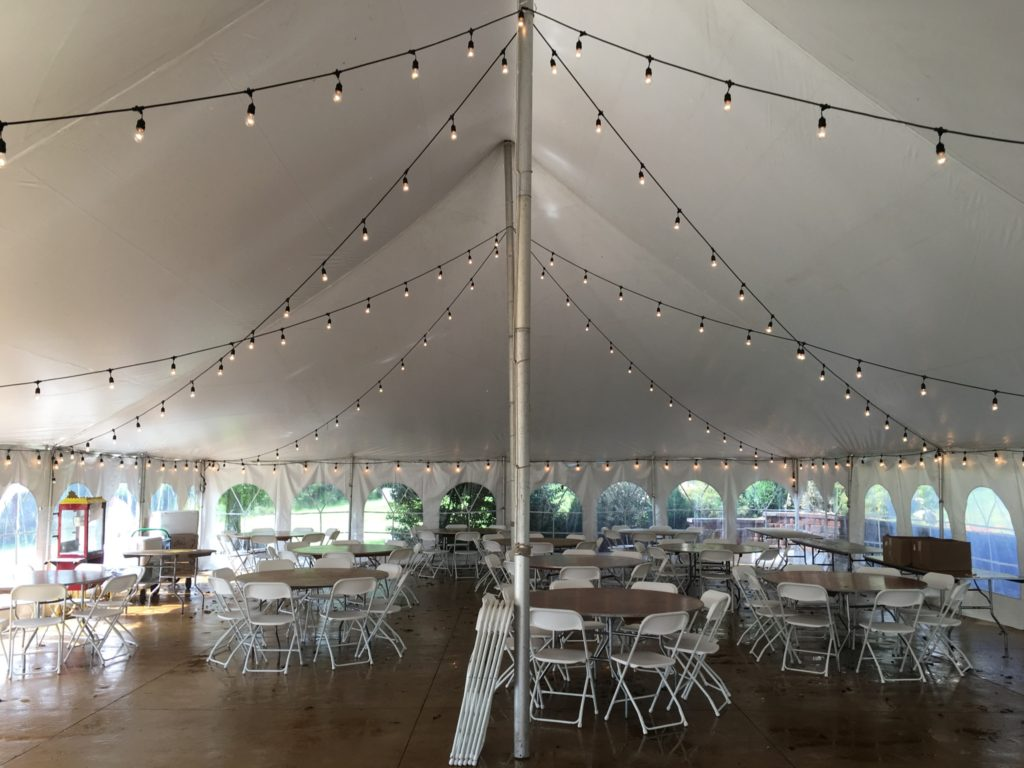 Elite 40 39 x60 39 rope pole event tent rental in ia il mo wi for Wedding tent layout