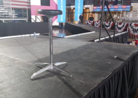 Black stool on our stage for Hillary Clinton political rally event
