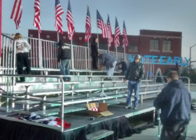 Bleachers on stage for Hillary Clinton political rally at NewBo City Market in Cedar Rapids, Iowa