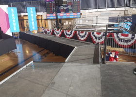 Elevated stage and catwalk with 45 degree turn for Hillary Clinton