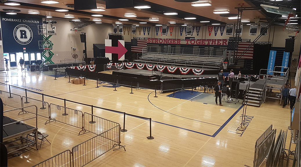 Political rally setup in Pomerantz Gymnasium in Des Moines, Iowa for Hillary Clinton
