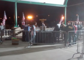 Political stage and barricade setup for political event at Larsen Park Road, Sioux City, Iowa