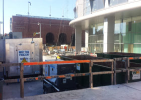 Walk-in Freezer and 60k Generator with the University of Iowa Children's Hospital to the right