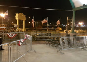 We setup the barricade, press risers with stairs on the left and band stage on the right for this political event at Larsen Park, Sioux City, Iowa