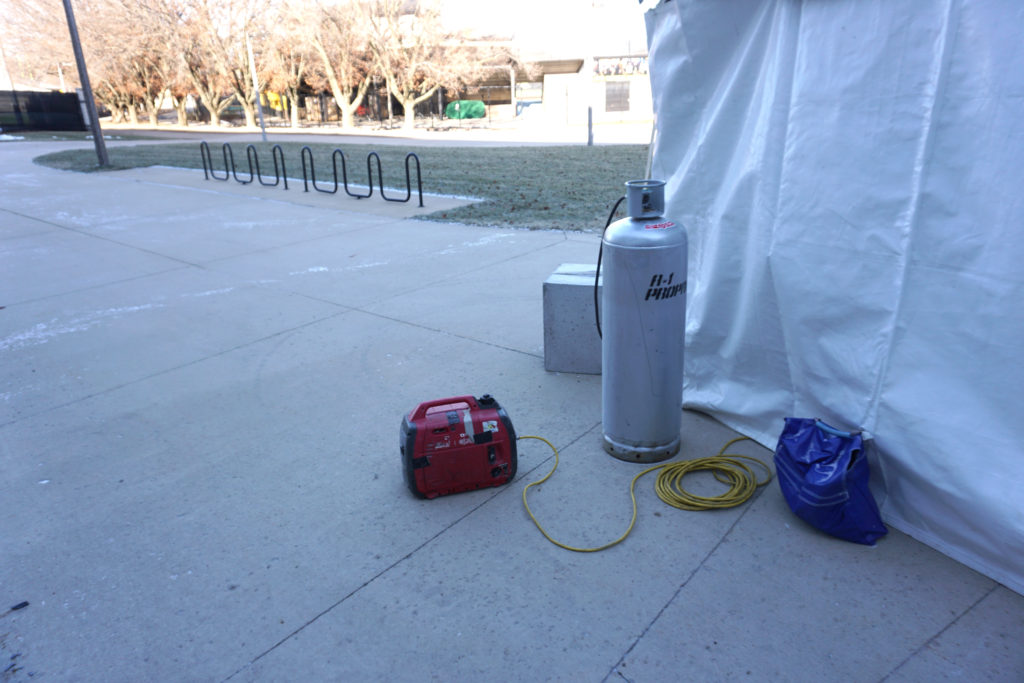 Generator and propane for heater inside the tent