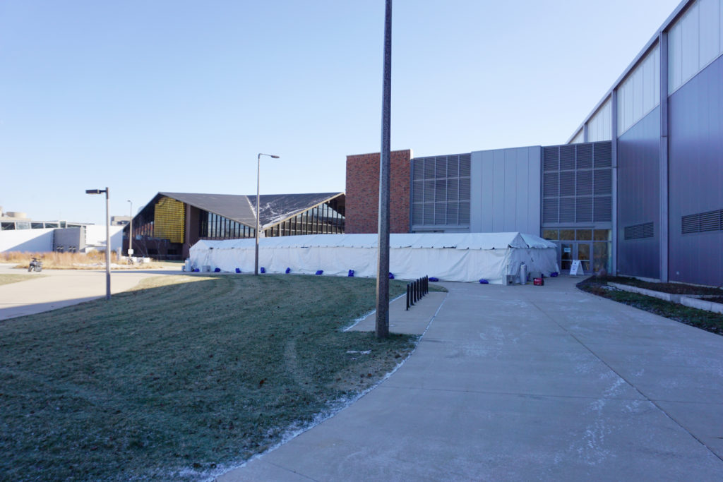 North-West end of the 10' x 340' heated frame tent from the Indoor Practice Facility to Recreation Bldg at The University of Iowa Athletic Department