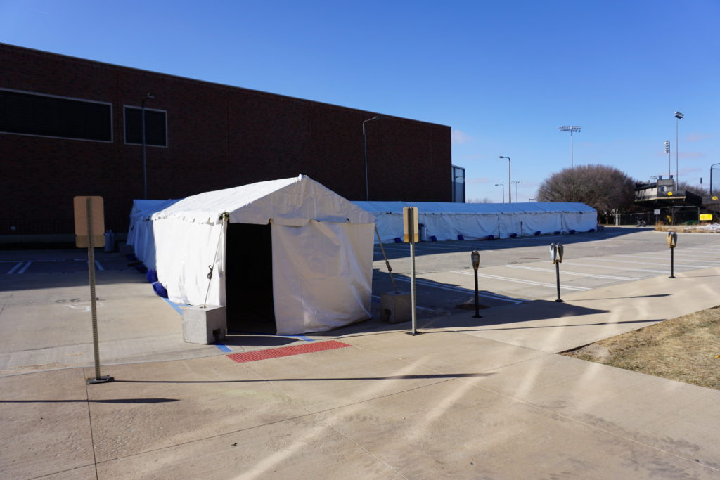 South East end of the 10' x 340' heated frame tent from the Recreation Bldg to the Indoor Practice Facility at The University of Iowa Athletic Department