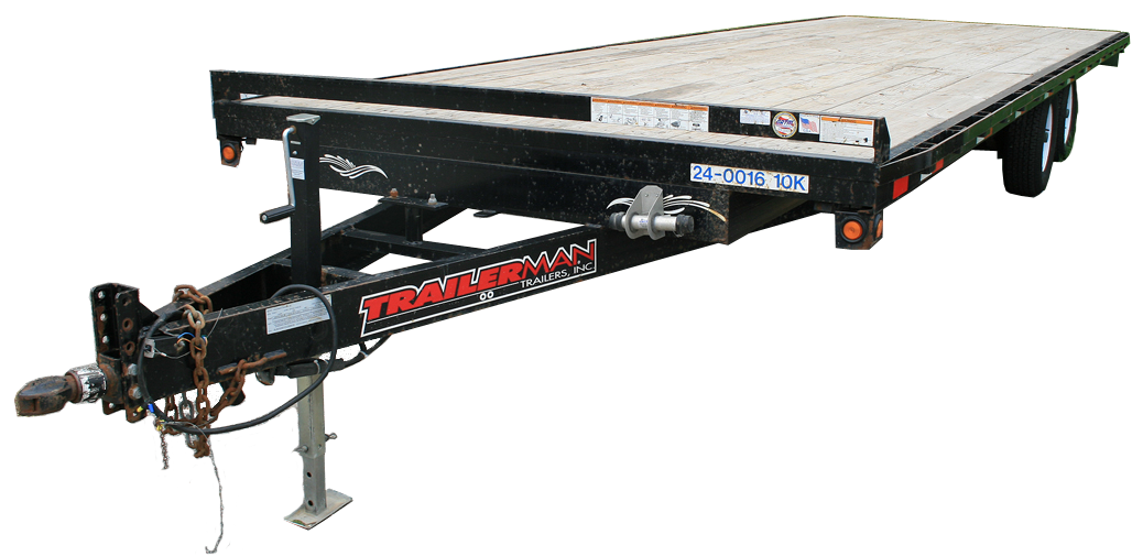 10,000lb tandem axel wood deck flatbed trailer for rental