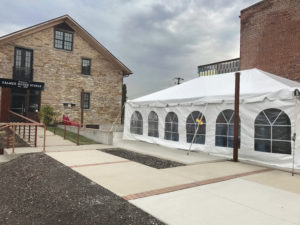 20' x 30' frame tent for a Wedding outside of the Palmer House in Solon, Iowa